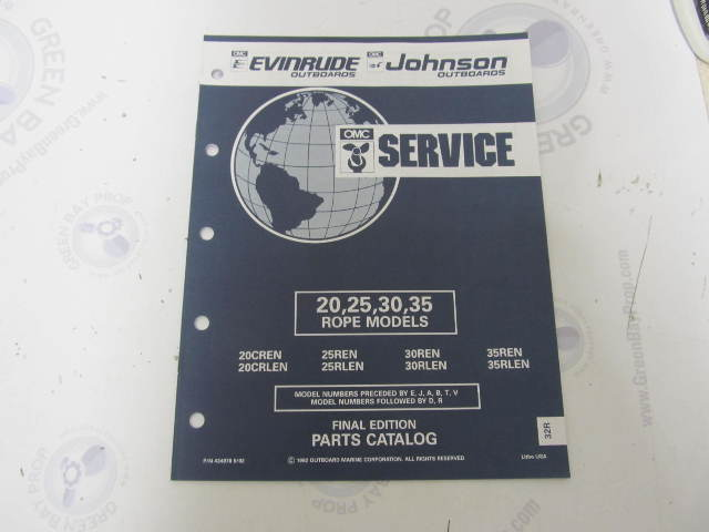 434978 1992 OMC Evinrude Johnson Outboard Parts Catalog 20-35 HP Rope