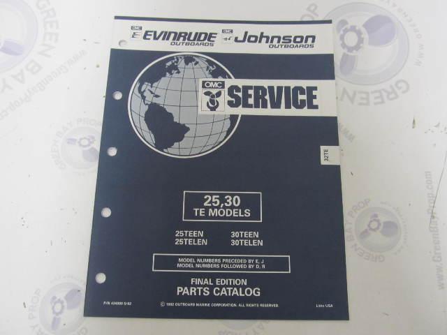 434980 1992 OMC Evinrude Johnson Outboard Parts Catalog 25-30 HP TE