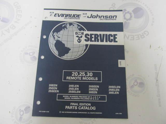 434981 1992 OMC Evinrude Johnson Outboard Parts Catalog 20-30 HP Remote