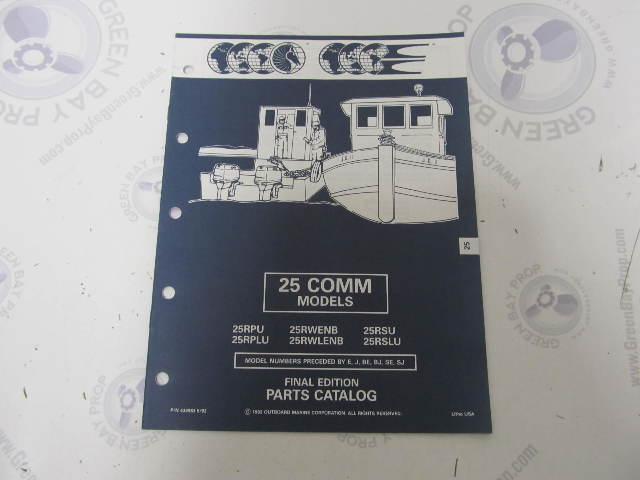 434983 1992 OMC Evinrude Johnson Outboard Parts Catalog 25 HP COMM