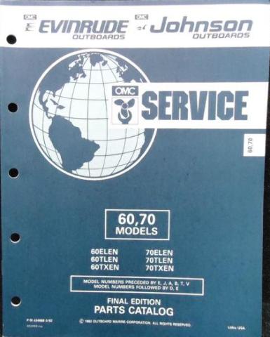 434988 1992 OMC Evinrude Johnson Outboard Parts Catalog 60-70 HP