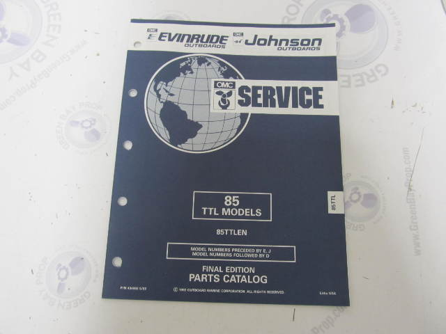 434992 1992 OMC Evinrude Johnson Outboard Parts Catalog 85 HP TTL