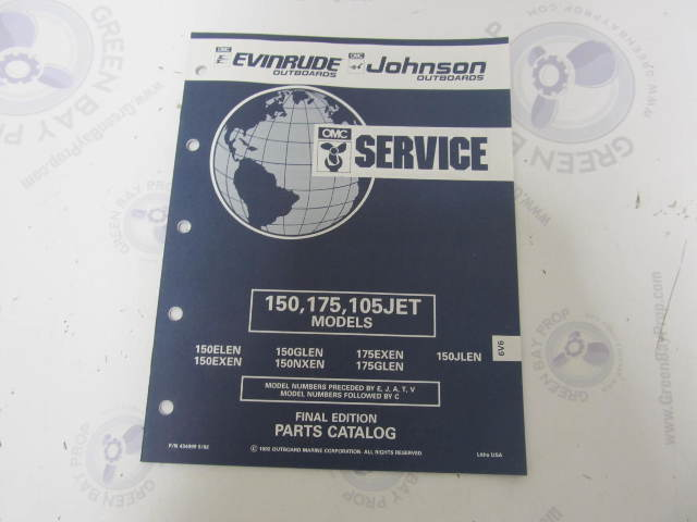 434999 1992 OMC Evinrude Johnson Outboard Parts Catalog 150 175 105JET