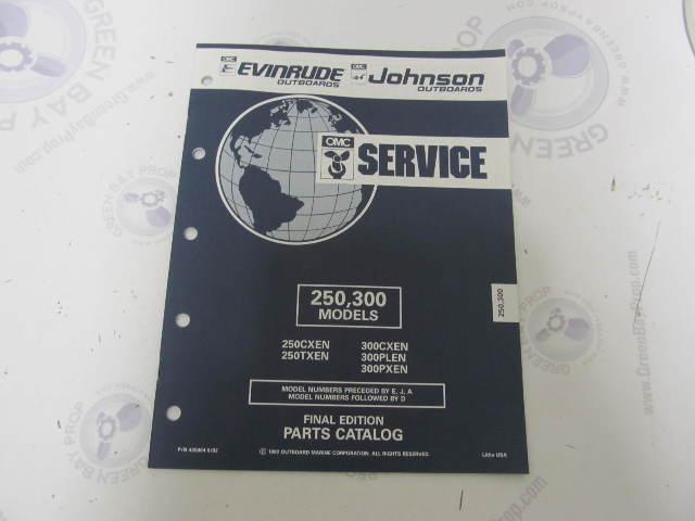 435004 1992 OMC Evinrude Johnson Outboard Parts Catalog 250-300 HP