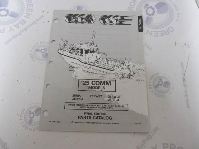 435870 1993 OMC Evinrude Johnson Outboard Parts Catalog 25 HP COMM