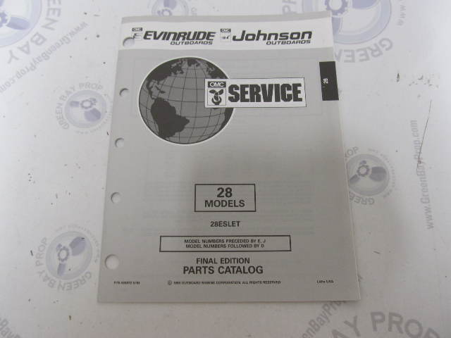 435872 1993 OMC Evinrude Johnson Outboard Parts Catalog 28 HP