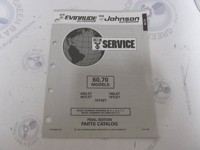435876 1993 OMC Evinrude Johnson Outboard Parts Catalog 60-70 HP