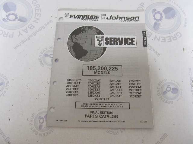 435891 1993 OMC Evinrude Johnson Outboard Parts Catalog 185-225 HP