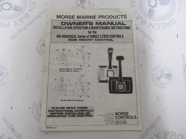55001-403A Morse MN Series Side Mount Remote Control Installation & Owner  Manual