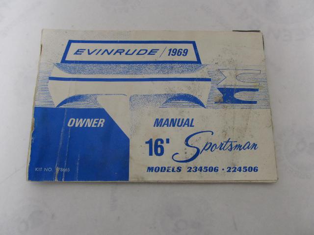 978665 Evinrude 16' Sportsman Boat Owner's Operator's Manual 1969