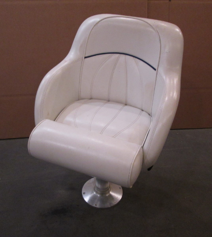 1998 Sea Ray Signature 230 Boat Bolstered Captains Seat White W/ Blue Piping