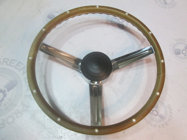 "14 3/4"" Boat Steering Wheel 3 Spoke Faux Wood Grain Standard Tapered Shaft"