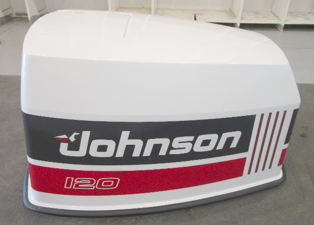 433999 Johnson Outboard 120 HP V4 White Motor Engine Cover Top Cowling Hood 1991