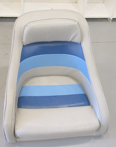 "1983 Concord 20' Marine Boat Blue Grey Captains Chair Seat 19"" H x 21 3/4"" W"