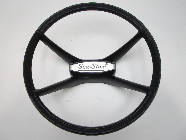 "Vintage Marine Sea Star Boat Black Plastic Steering Wheel 14.5"" Tapered Shaft"