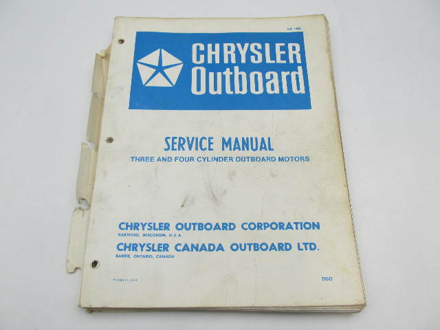 OB1565 Vintage Chrysler Outboard Service Manual 3 & 4 Cylinder 70-150 HP 1969-78