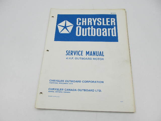 OB2278 1977 Chrysler Outboard Service Manual 4 HP