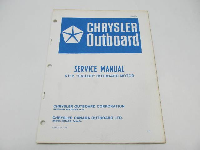 OB2279 1977 Chrysler Outboard Service Manual 6 HP Sailor