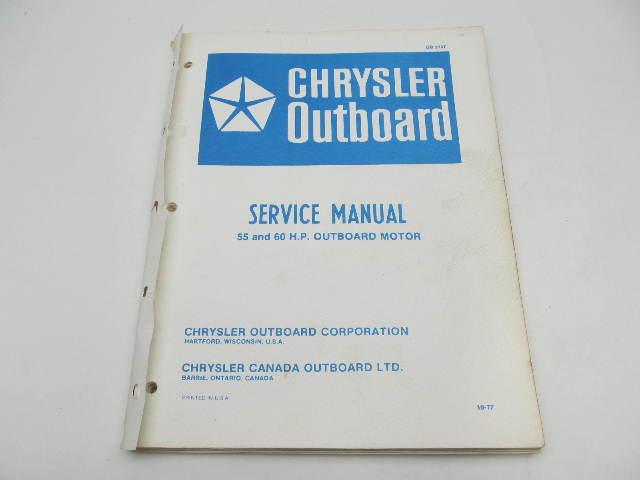 OB2707 Vintage Chrysler Outboard Service Manual 55 & 60 HP