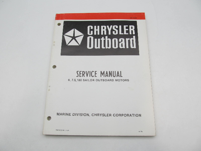 OB3330 4/79 Chrysler Outboard Service Manual 6-7.5  HP 180 Sailor