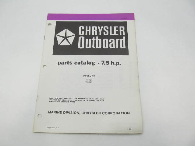 OB3840 Outboard Parts Catalog for Chrysler 7.5 HP 1983 72H3F 72B3F