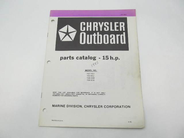 OB3841 Outboard Parts Catalog for Chrysler 15 HP 1983 152H3J 158H3D