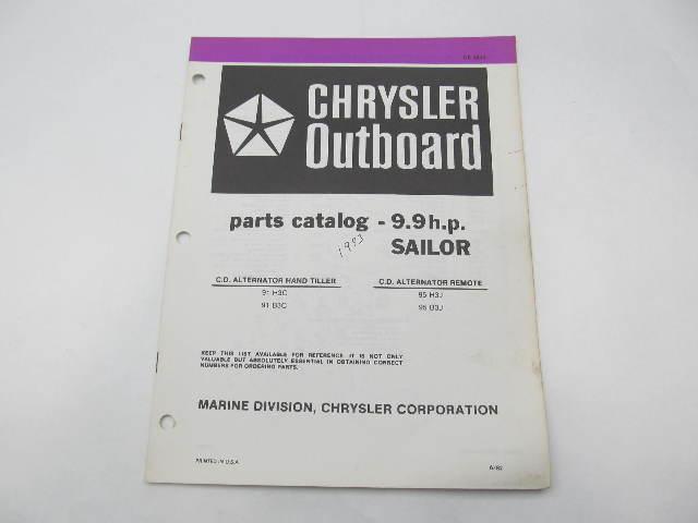 OB3843 Outboard Parts Catalog for Chrysler 9.9 HP Sailor 1983 91H3C 95H3J