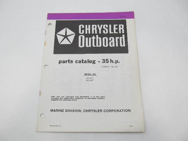 OB3844 Outboard Parts Catalog for Chrysler 35 HP Manual Tiller 1982 352H2P 353H2P