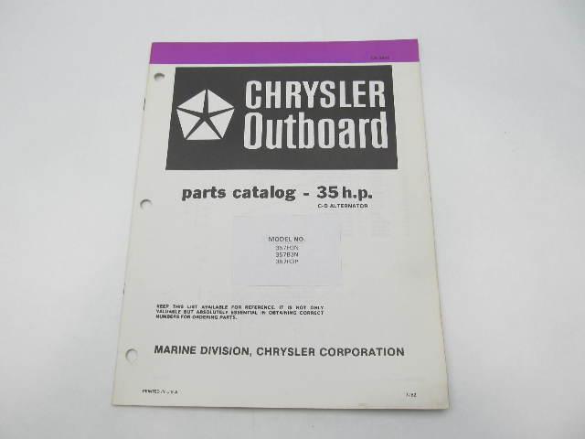 OB3846 Outboard Parts Catalog for Chrysler 35 HP CD Alt 1983 357H3N 357R3P 357B3N