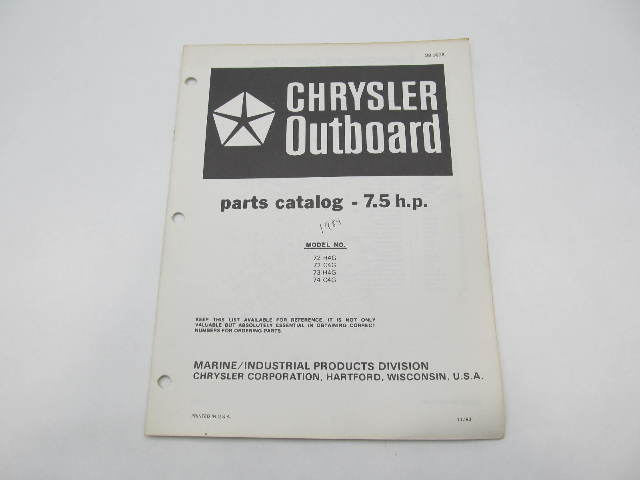 OB3928 Outboard Parts Catalog for Chrysler 7.5 HP 1984 72H4G 73H4G