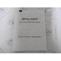 Bayliner 197 219 249 Deck Boat Owner's Manual Supplement 1809698
