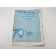 1979 Johnson Outboard Parts Catalog 85 100 115 140 HP V-4 Final Edition