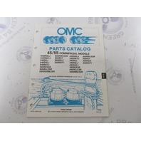 433787 1990 OMC Evinrude Johnson Outboard Parts Catalog 45-55 HP COMM