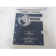 434992 1992 OMC Evinrude Johnson Outboard Parts Catalog 85 HP TTL