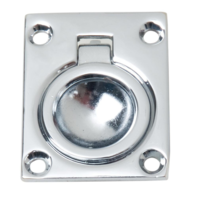 "Perko Flush Chrome Lift Ring Pull 1-3/4"" x 1-1/4"""