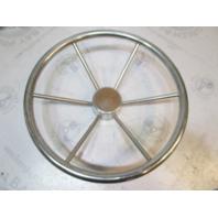 "Vintage Boat Ship Stainless Steel 16""Steering Wheel 6 Spokes Standard 3/4"" Shaft"
