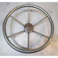 Vintage Boat Stainless Steel 14.75 in Steering Wheel 6 Spokes Standard Shaft