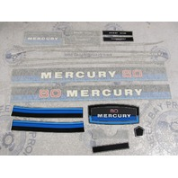 37-93152A81 Fits Mercury 80 HP Outboard Cowl Blue & Black Decal Set NLA
