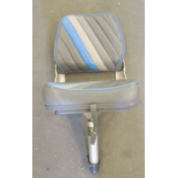 Marine Boat Folding Grey Blue Seat Chair With Adjustable Height Pedestal