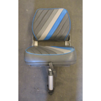 Marine Boat Folding Grey Blue Seat Chair & Adjustable Height Pedestal