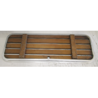 "Teak Wood Boat Floor Deck Ski Hatch Cover & Aluminum Frame 39 1/4"" x 14"""