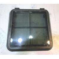"Black Tinted Marine Boat Plastic Hatch Window Bow Cuddy Cabin 19"" x 19"" Square"