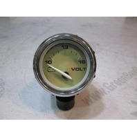 "Bayliner Boat Volt Gauge 2"" Gold Face Chrome Bezel"