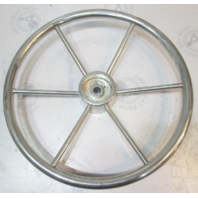 Vintage Marine Stainless Boat Steering Wheel 6 Spoke Splined Hub Shaft 16""