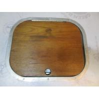 "Boat Marine Hinged Floor Deck Hatch Cover Teak Aluminum Frame 16.5"" x 13.5"""