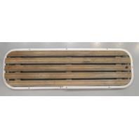 "Teak Wood Boat Floor Deck Ski Hatch Cover & Aluminum Frame 43 1/2"" x 13 1/2"""