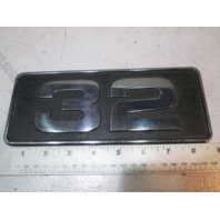 "Carver Yachts Metal ""32"" Name Plaque Emblem 1980's 8 3/4"" X 3 1/2"""