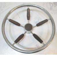 "1970's Dolphin Sea Trek Boat Marine Teak & Stainless Steel Steering Wheel 15"""