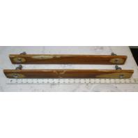 "1986 Rinker V180 Boat Set (2) Grab Hand Rail Teak Wood 24"" x  1 7/8"""