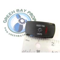 Apex Marine Pontoon Boat Riser Trim Lights Rocker Switch Cover Only Black w/Red Lens